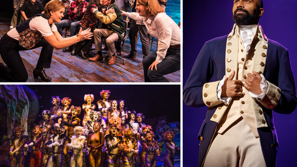 Scenes from Come From Away, Cats, and Hamilton